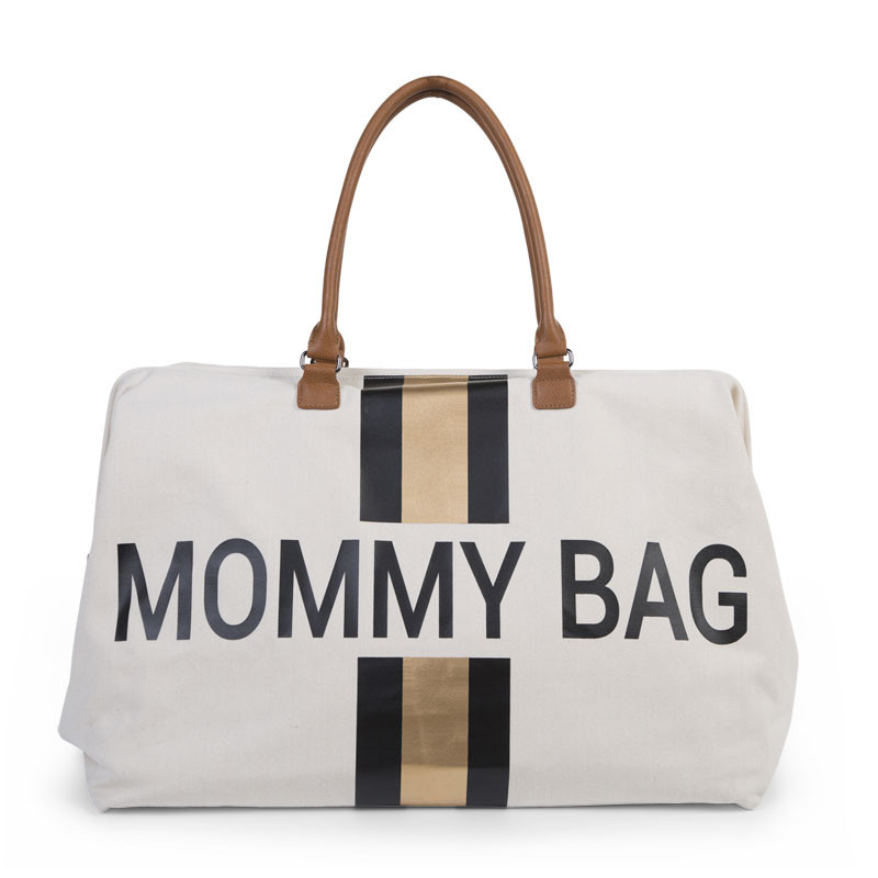 Τσάντα Αλλαγής ChildHome Mommy Off White Stripes Black/Gold 7345