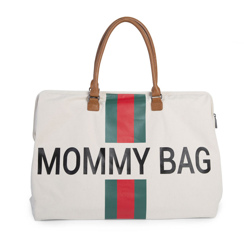 Τσάντα Αλλαγής ChildHome Mommy Off White Stripes Green/Red 73459