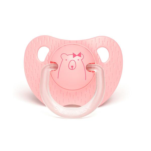 Πιπίλα Σιλικόνης Ανατομική 0-6Μ Suavinex Bear L.Pink