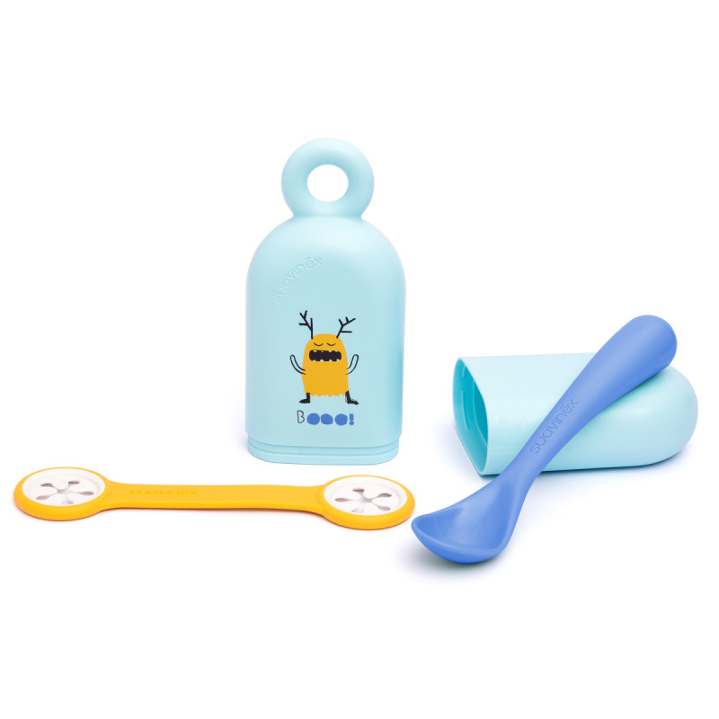 Κουτάλι + Πιαστράκι Πετσέτας Σε Θήκη (Σετ) Suavinex Blue