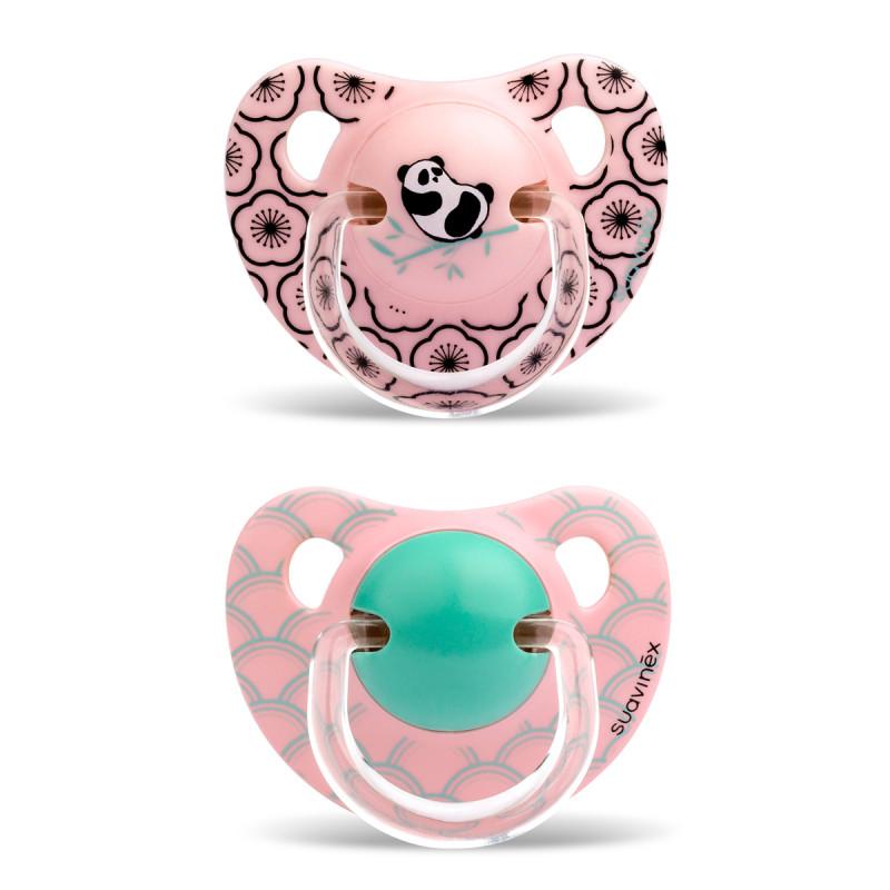 Πιπίλες Σιλικόνης Ανατομικές 18Μ+ (Σετ 2τμχ) Suavinex Panda Pink