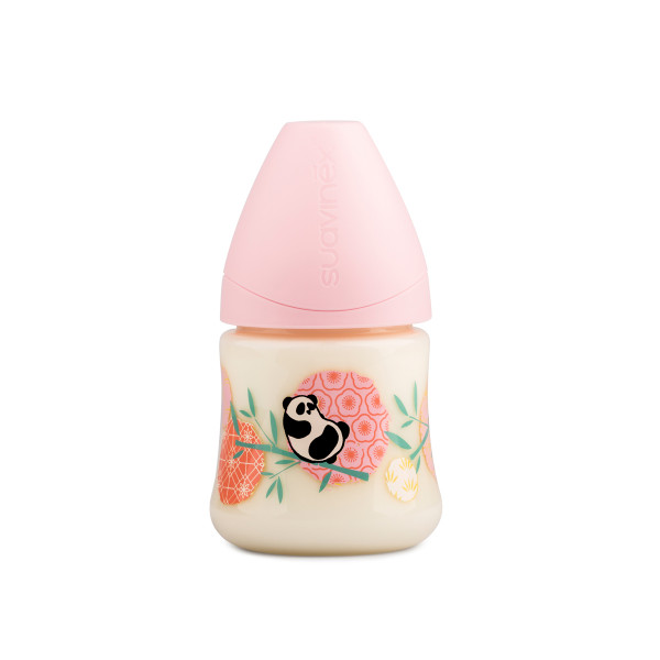 Πλαστικό Μπιμπερό 150ml Με Θηλή Σιλικόνης 0-6Μ Suavinex Panda Pink