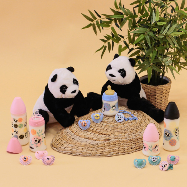 Πλαστικό Μπιμπερό 360ml Με Θηλή Σιλικόνης 6Μ+ Suavinex Panda Pink