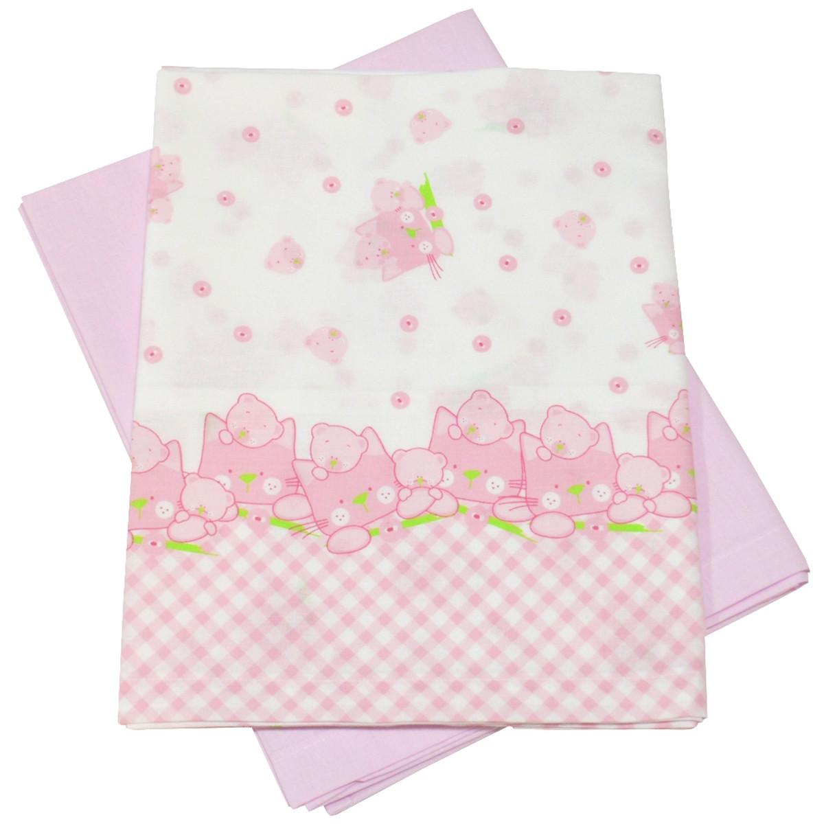 Σεντόνια Λίκνου (Σετ) Κόσμος Του Μωρού 0232 Cats Ροζ