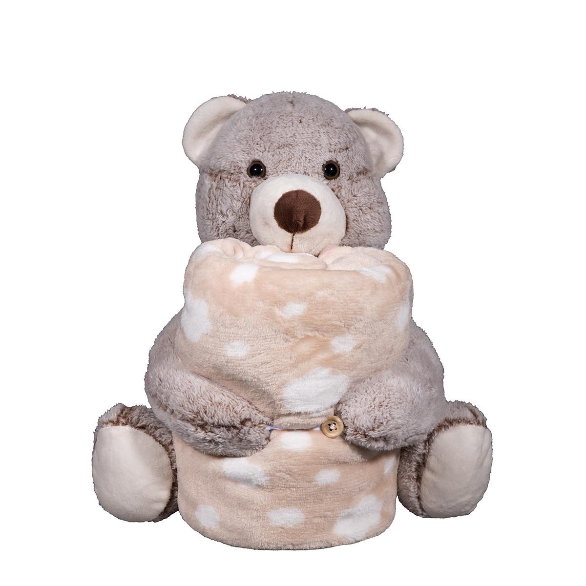 Κουβέρτα Fleece Αγκαλιάς Silk Fashion Bear Brown