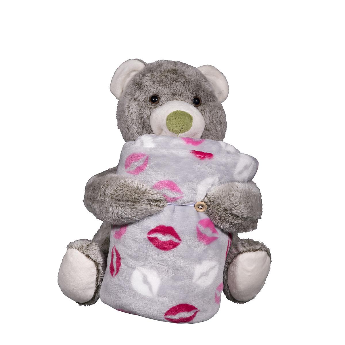 Κουβέρτα Fleece Αγκαλιάς Silk Fashion Bear Grey