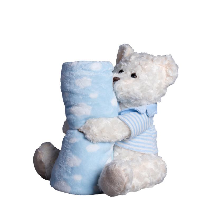 Κουβέρτα Fleece Αγκαλιάς + Λούτρινο Silk Fashion Bear1 Blue
