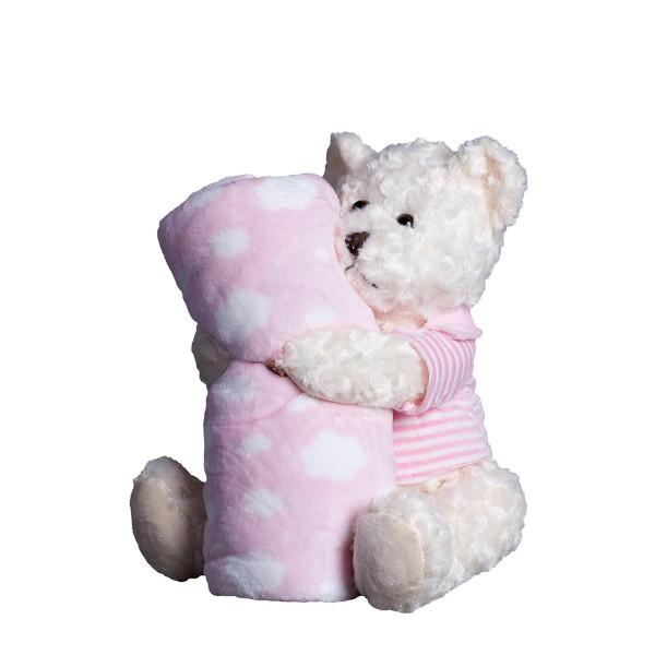Κουβέρτα Fleece Αγκαλιάς + Λούτρινο Silk Fashion Bear1 Pink