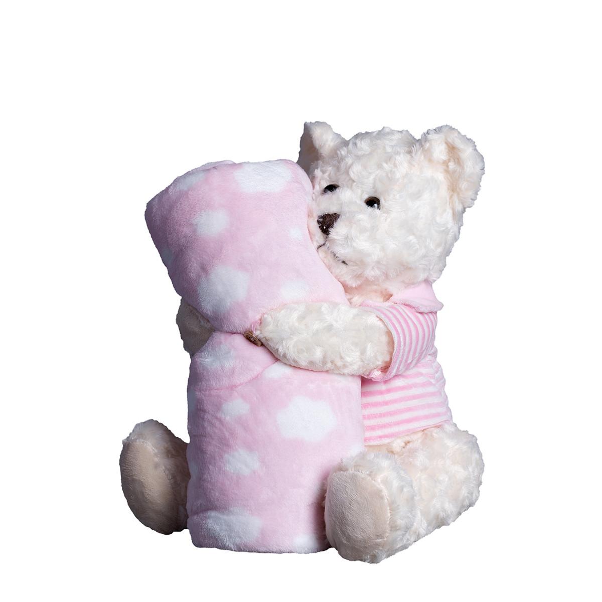 Κουβέρτα Fleece Αγκαλιάς Silk Fashion Bear1 Pink