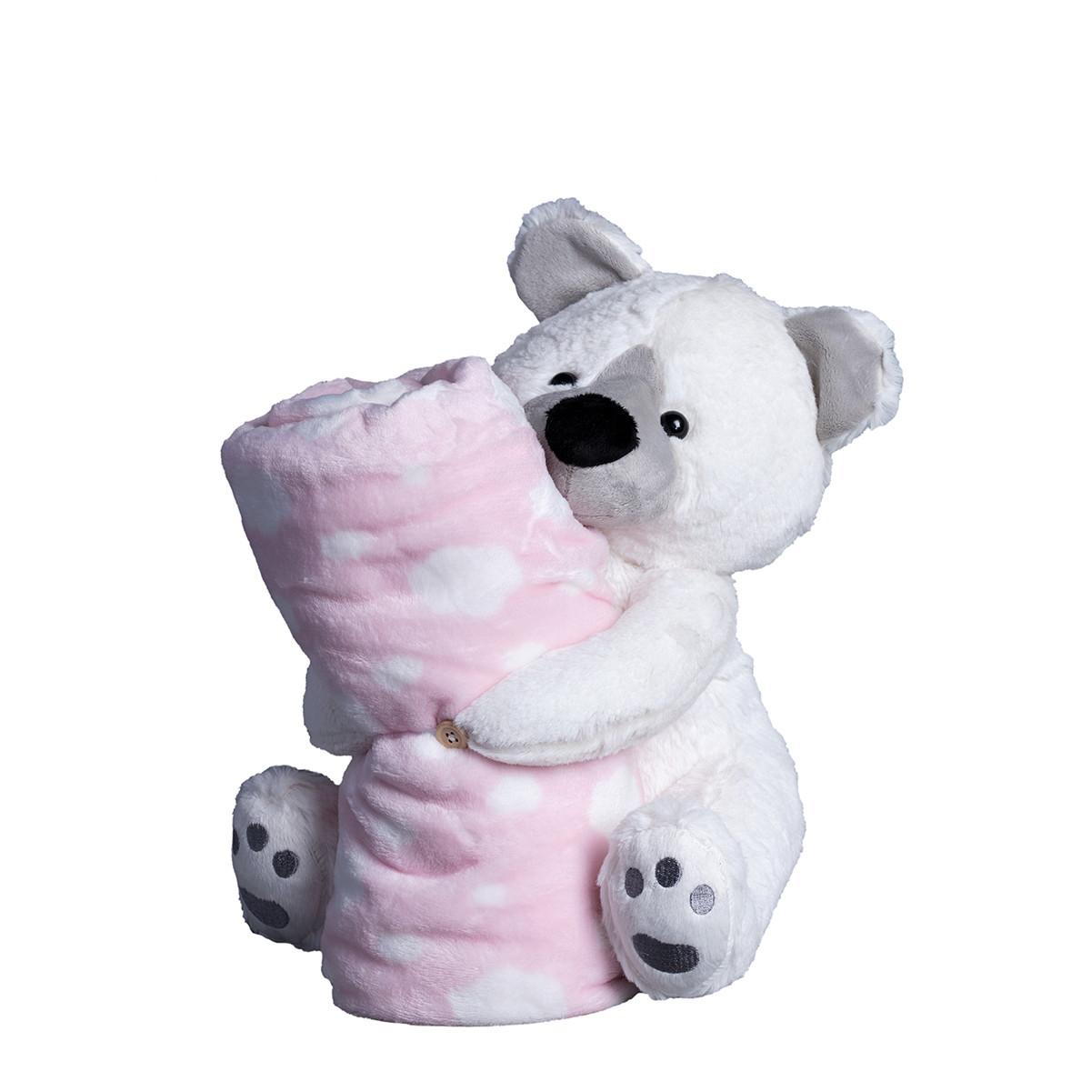 Κουβέρτα Fleece Αγκαλιάς Silk Fashion Bear Pink