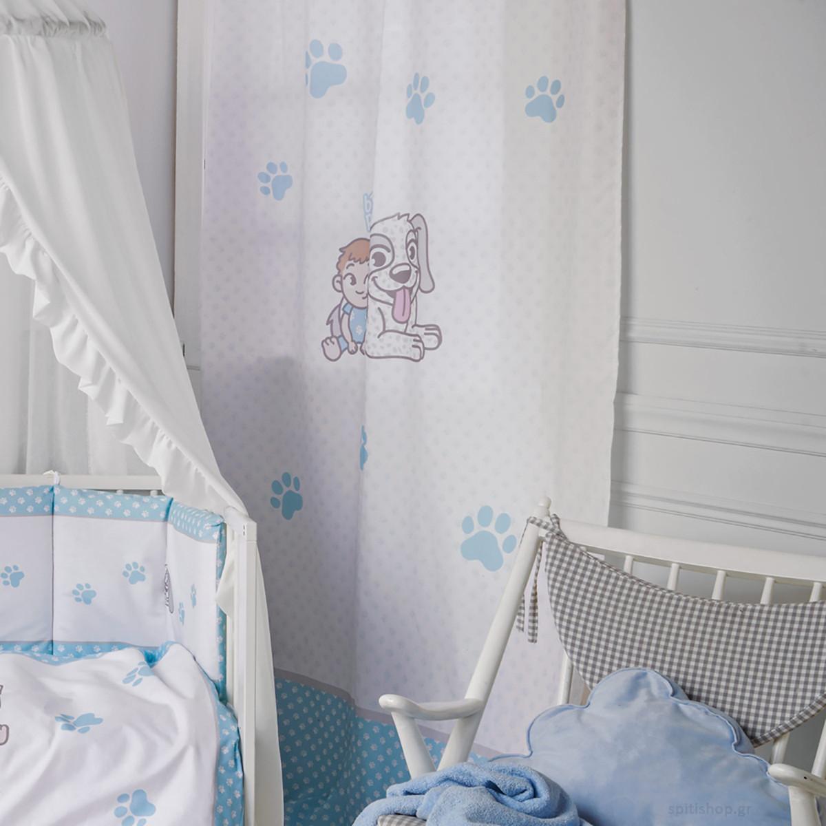Παιδική Κουρτίνα (140×270) Με Θηλιές Kentia Baby Best Dog