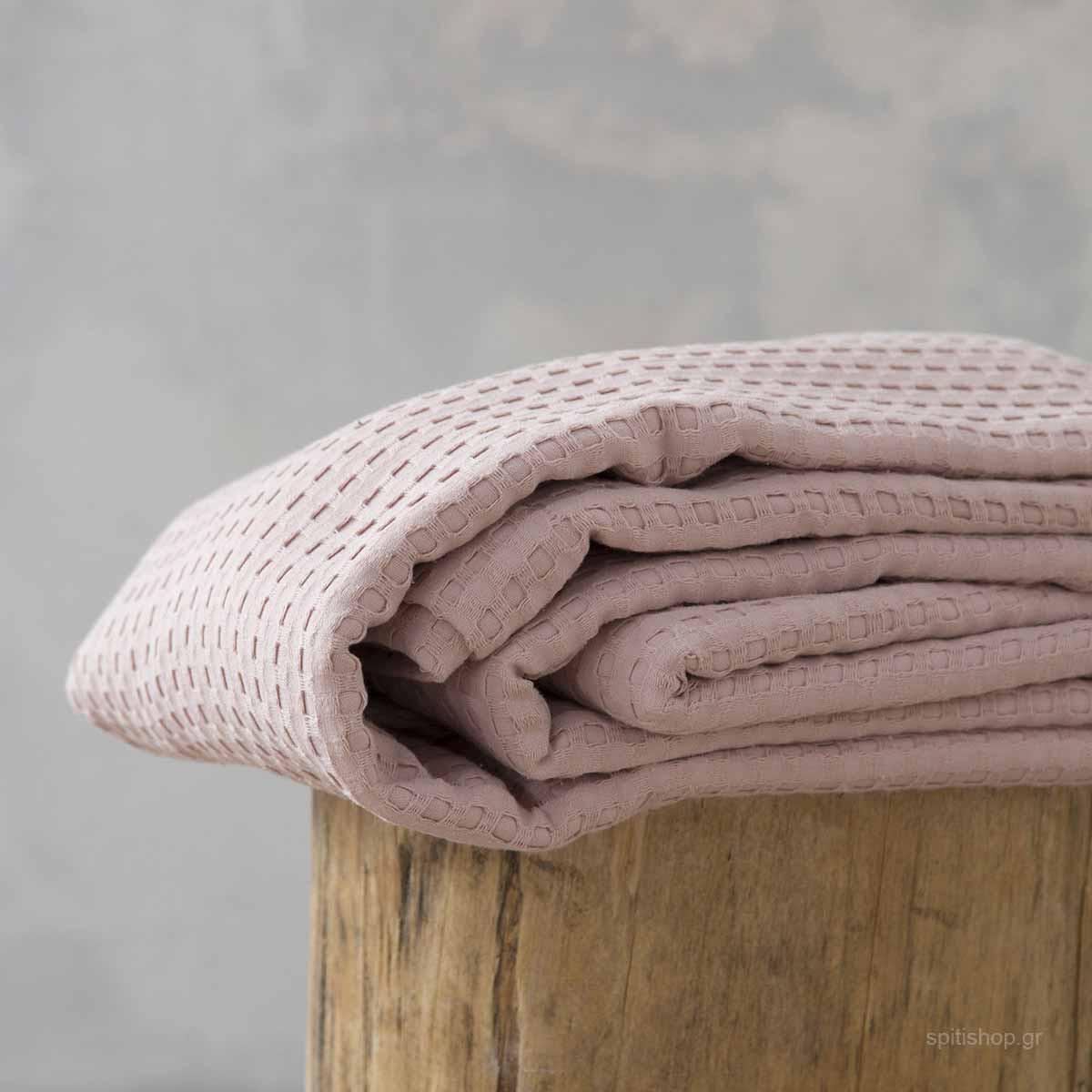 Κουβέρτα Πικέ Υπέρδιπλη Nima Layers Habit Peach