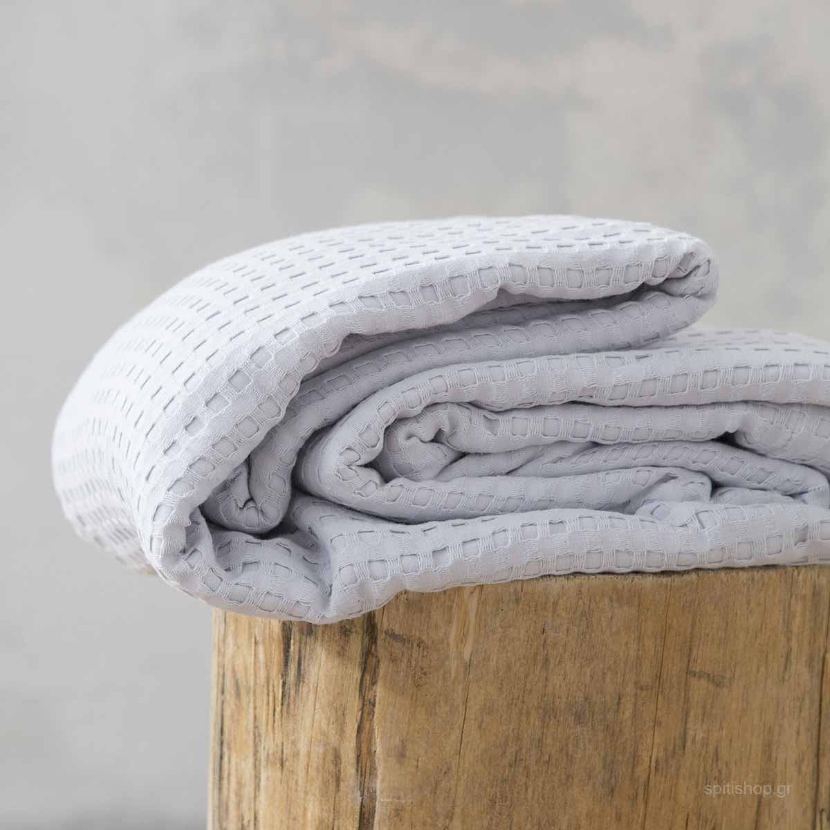 Κουβέρτα Πικέ Μονή Nima Layers Habit Light Grey