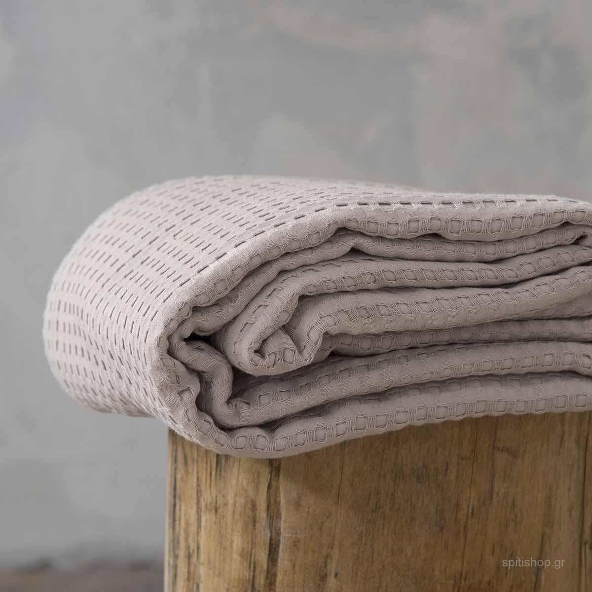 Κουβέρτα Πικέ Μονή Nima Layers Habit Warm Beige