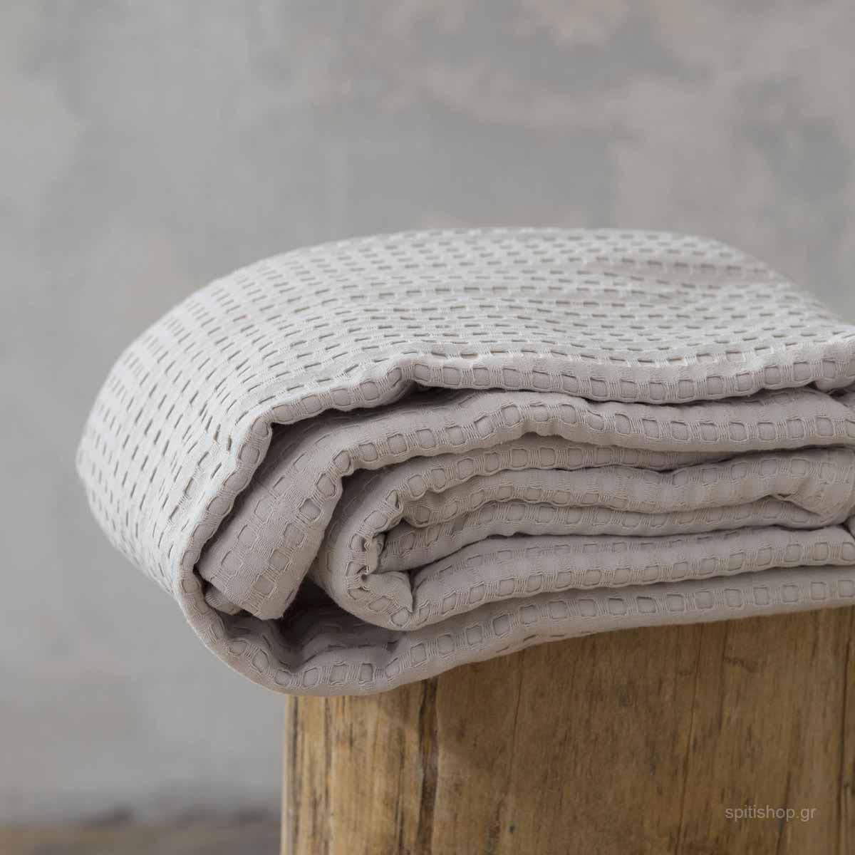 Κουβέρτα Πικέ Μονή Nima Layers Habit Sunny Beige home   παιδικά   κουβέρτες παιδικές   κουβέρτες καλοκαιρινές