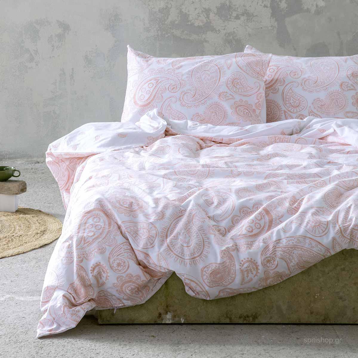 Σεντόνια Υπέρδιπλα (Σετ) Nima Bed Linen Aditti Pink ΧΩΡΙΣ ΛΑΣΤΙΧΟ ΧΩΡΙΣ ΛΑΣΤΙΧΟ