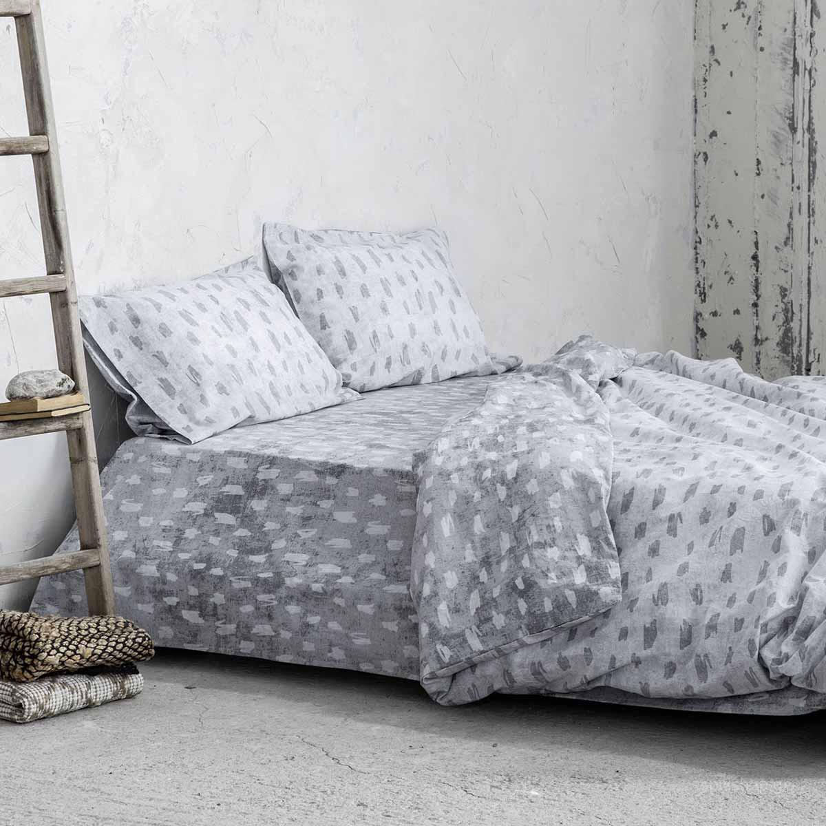Σεντόνια Υπέρδιπλα (Σετ) Nima Bed Linen Dayo Grey ΧΩΡΙΣ ΛΑΣΤΙΧΟ ΧΩΡΙΣ ΛΑΣΤΙΧΟ