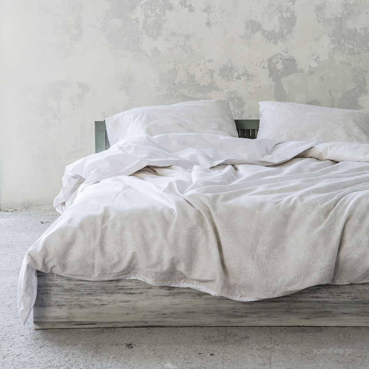 Σεντόνια Υπέρδιπλα (Σετ) Nima Bed Linen Defile Beige ΧΩΡΙΣ ΛΑΣΤΙΧΟ ΧΩΡΙΣ ΛΑΣΤΙΧΟ