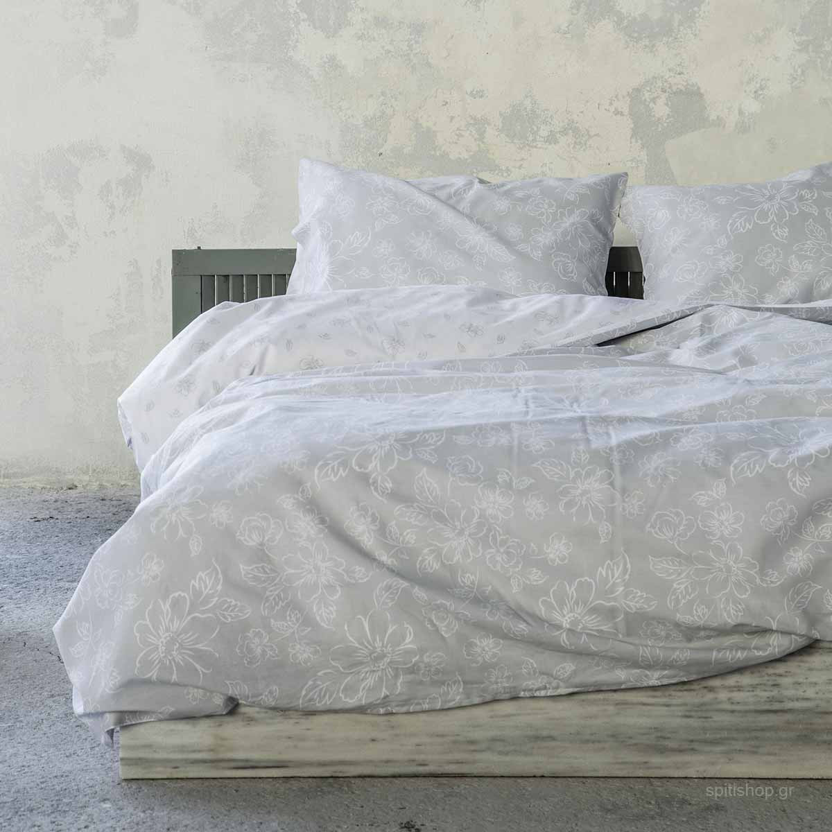 Σεντόνια Μονά (Σετ) Nima Bed Linen Defile Grey ΧΩΡΙΣ ΛΑΣΤΙΧΟ ΧΩΡΙΣ ΛΑΣΤΙΧΟ