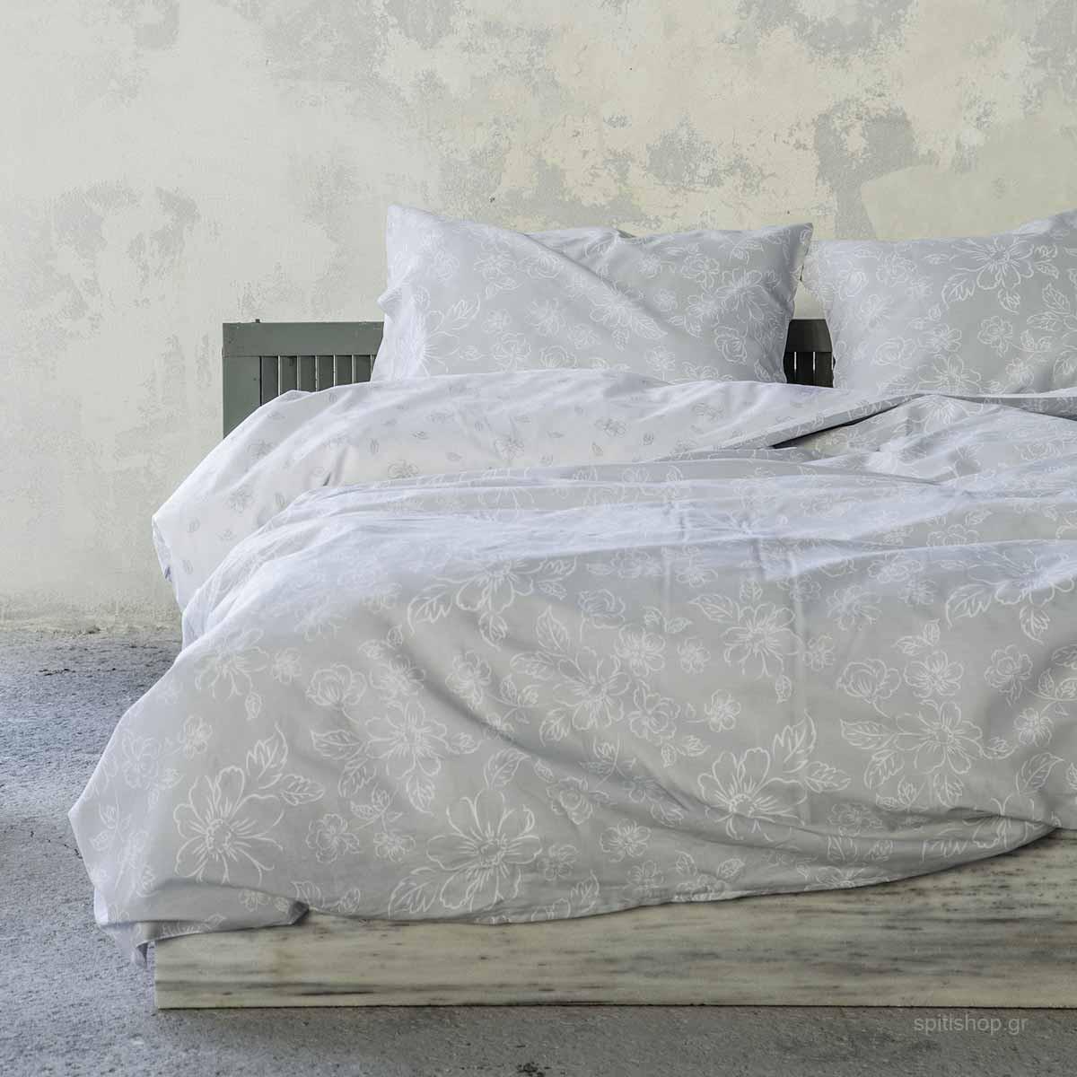 Σεντόνια Υπέρδιπλα (Σετ) Nima Bed Linen Defile Grey ΧΩΡΙΣ ΛΑΣΤΙΧΟ ΧΩΡΙΣ ΛΑΣΤΙΧΟ