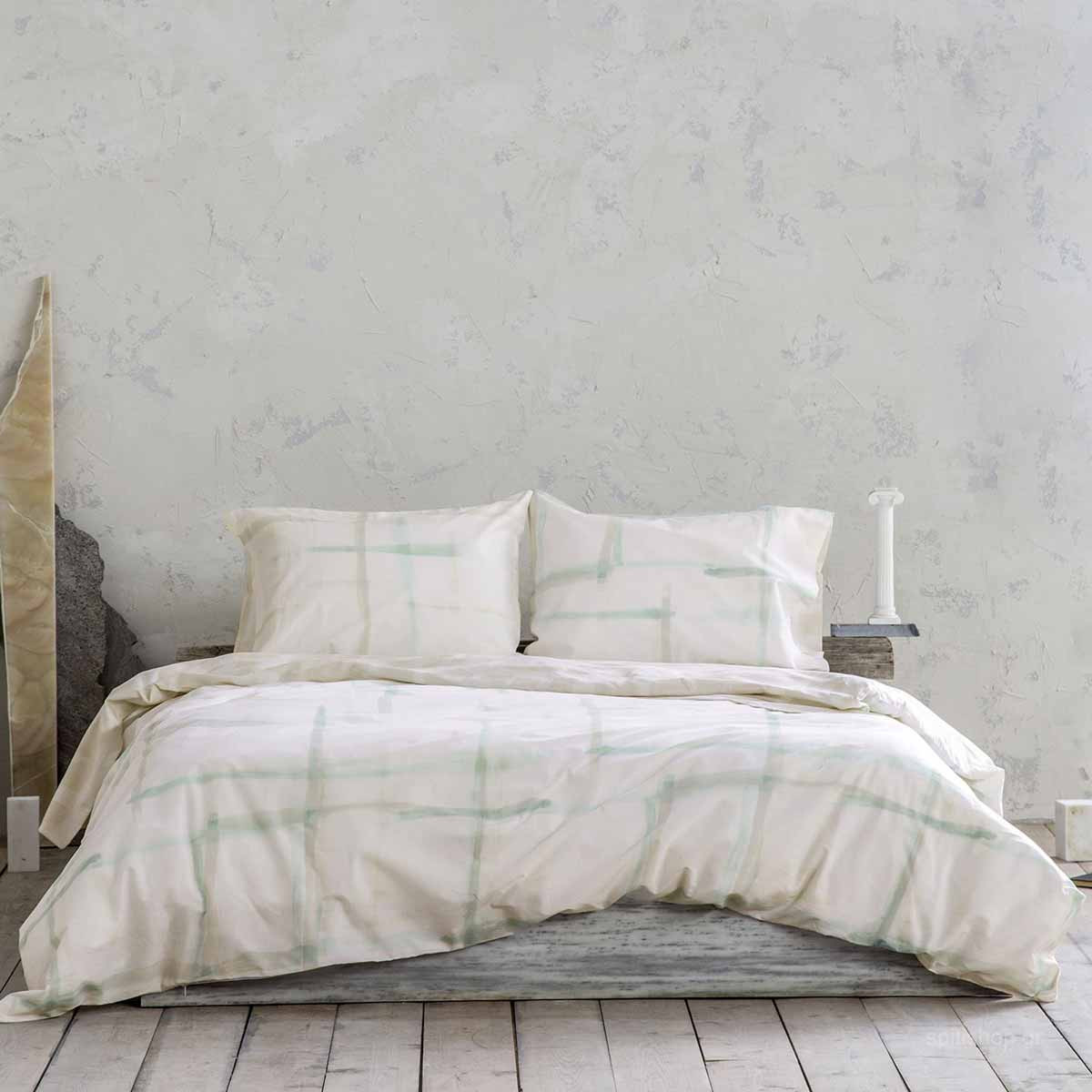 Σεντόνια Υπέρδιπλα (Σετ) Nima Bed Linen La Pintura Mint ΧΩΡΙΣ ΛΑΣΤΙΧΟ ΧΩΡΙΣ ΛΑΣΤΙΧΟ