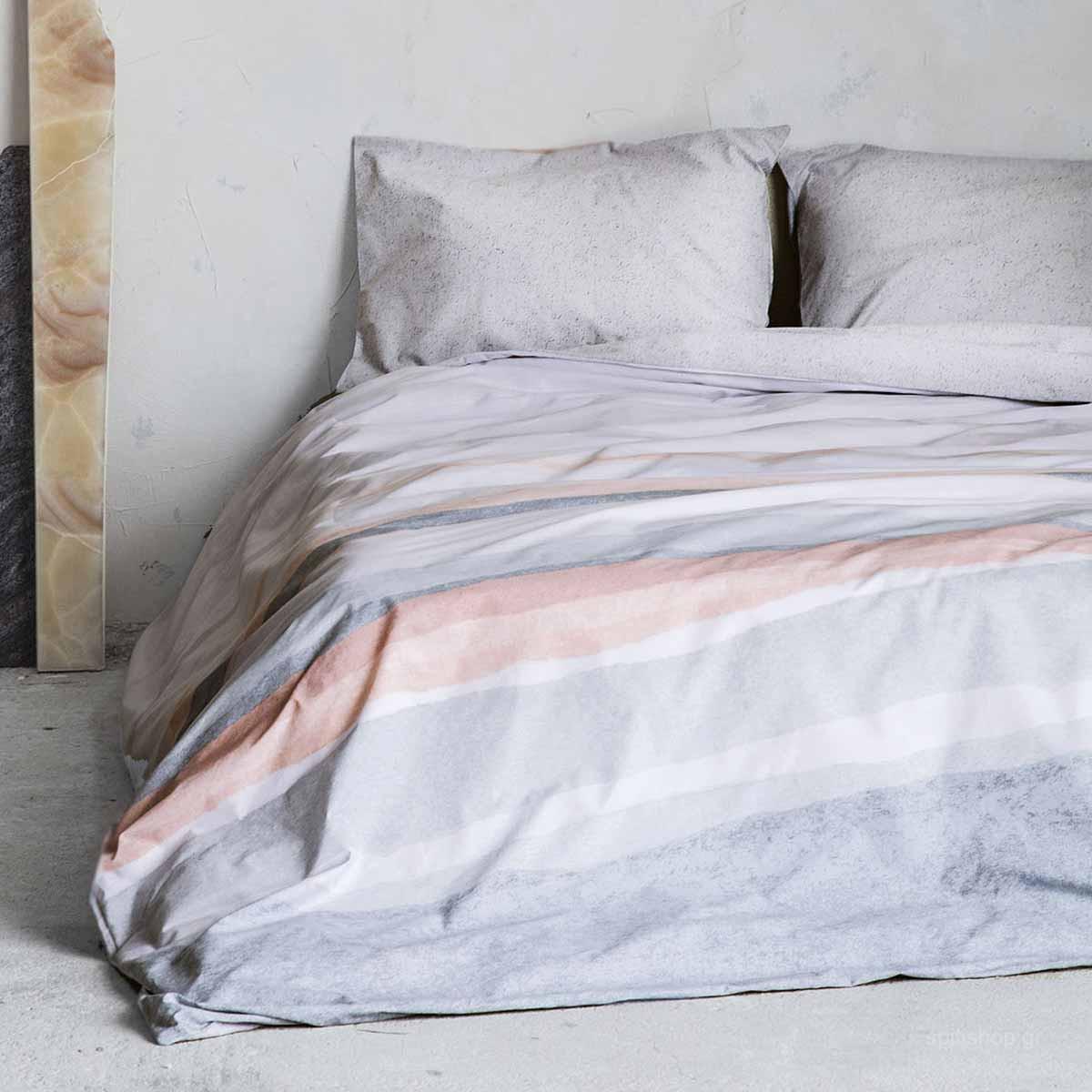 Σεντόνια Υπέρδιπλα (Σετ) Nima Bed Linen Antissamos Grey ΧΩΡΙΣ ΛΑΣΤΙΧΟ ΧΩΡΙΣ ΛΑΣΤΙΧΟ