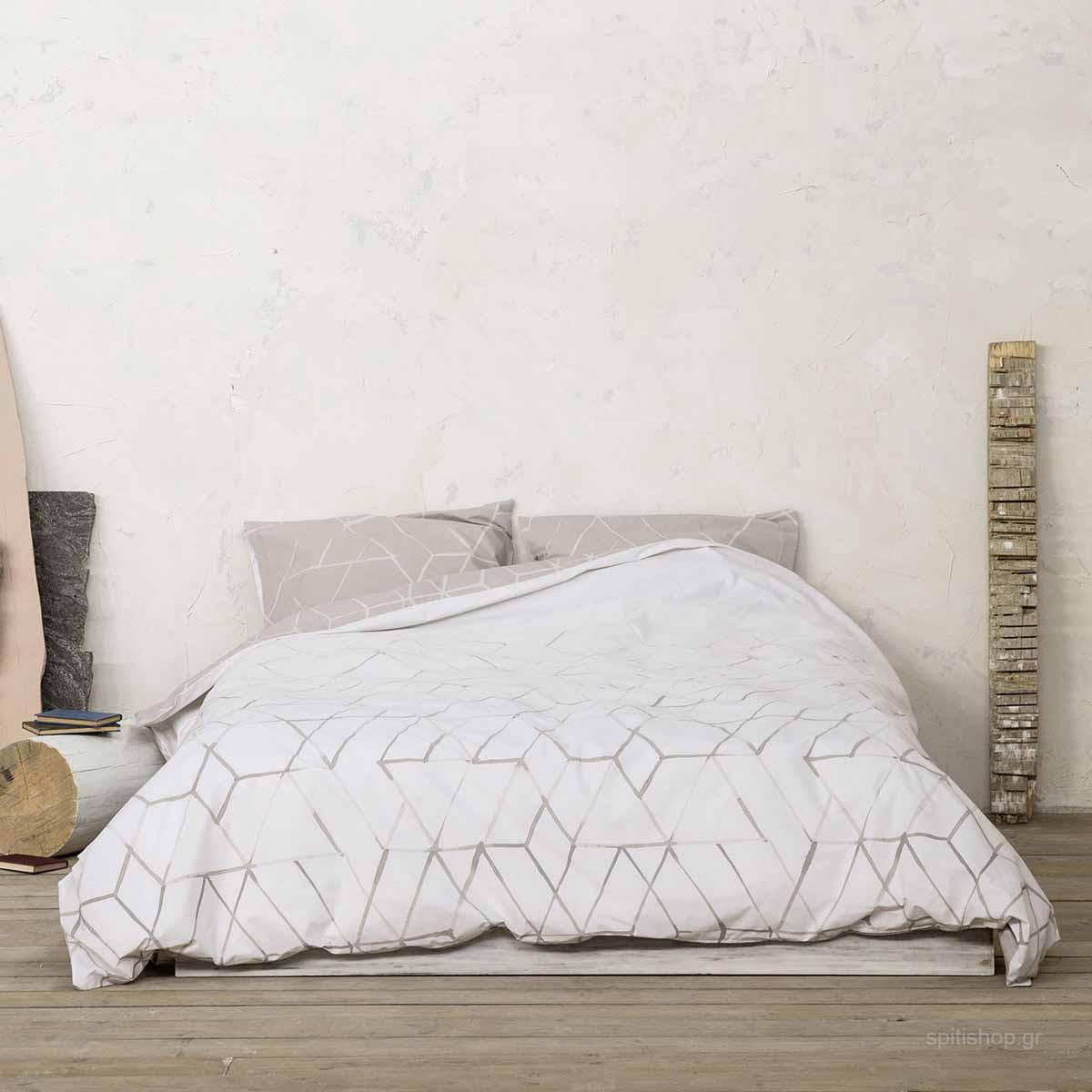 Σεντόνια Υπέρδιπλα (Σετ) Nima Bed Linen Asymmetry Beige