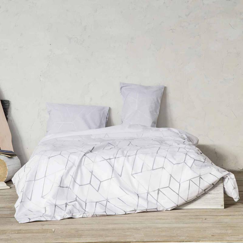 Σεντόνια Μονά (Σετ) Nima Bed Linen Asymmetry Grey