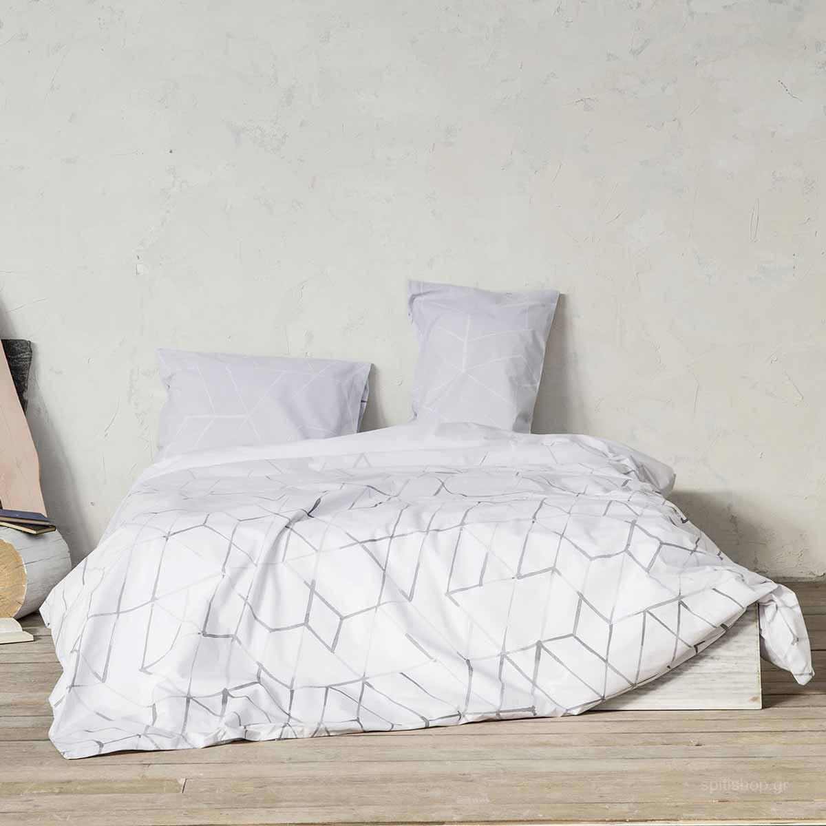 Σεντόνια Υπέρδιπλα (Σετ) Nima Bed Linen Asymmetry Grey