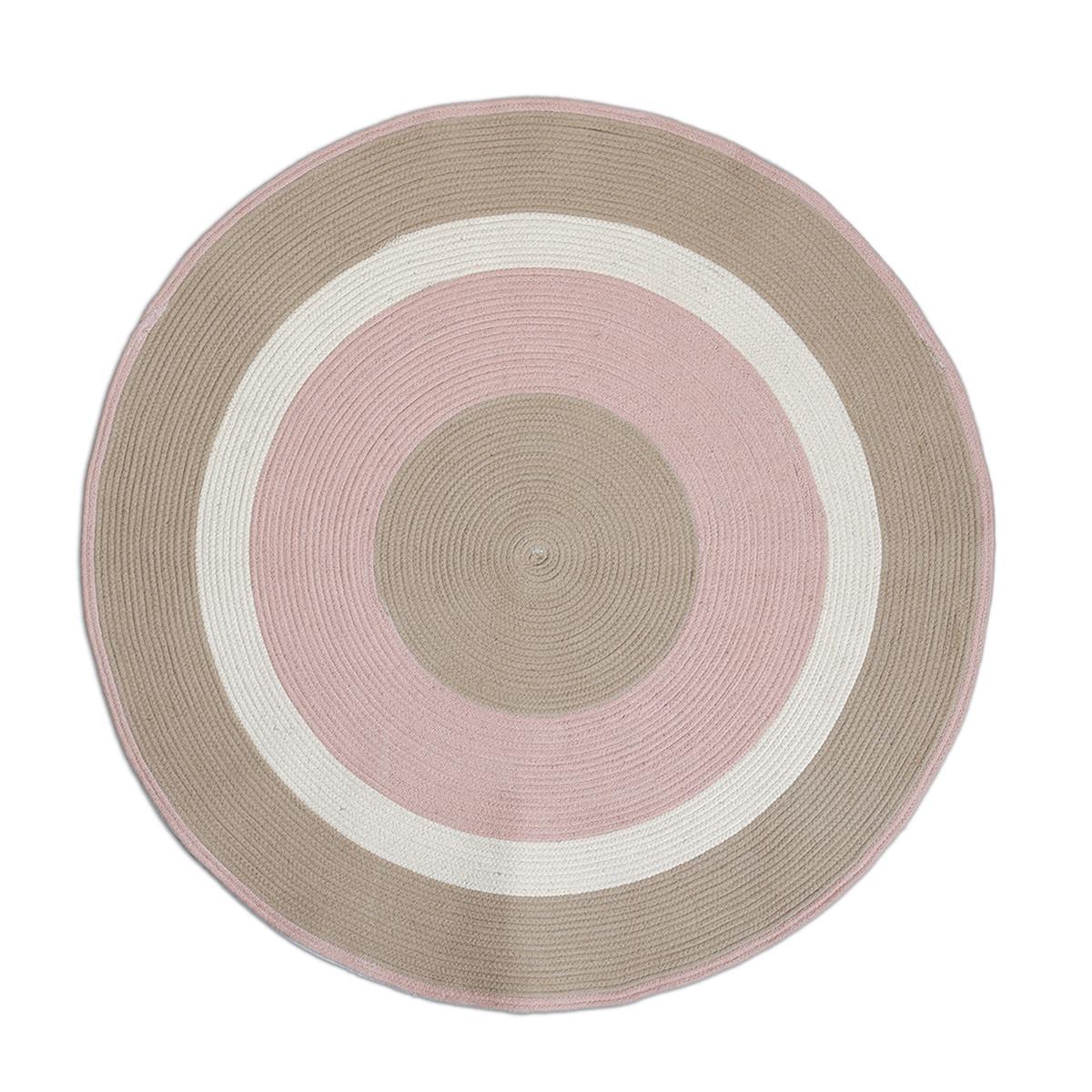 Στρογγυλό Χαλί (Φ120) Nef-Nef Vintage Collection Beige/Pink
