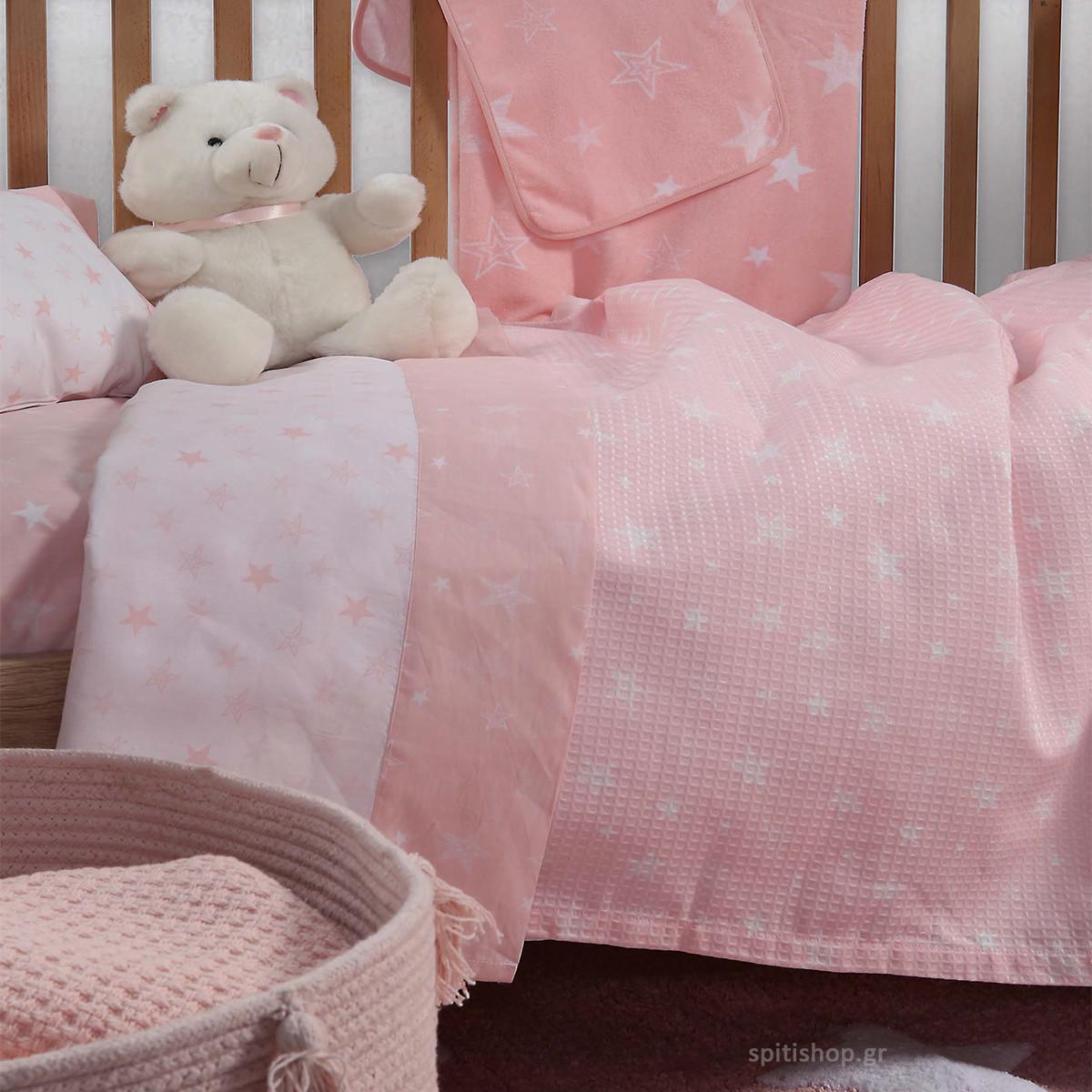 Κουβερτόριο Κούνιας Nef-Nef Moon Pink home   βρεφικά   κουβέρτες βρεφικές   κουβέρτες καλοκαιρινές
