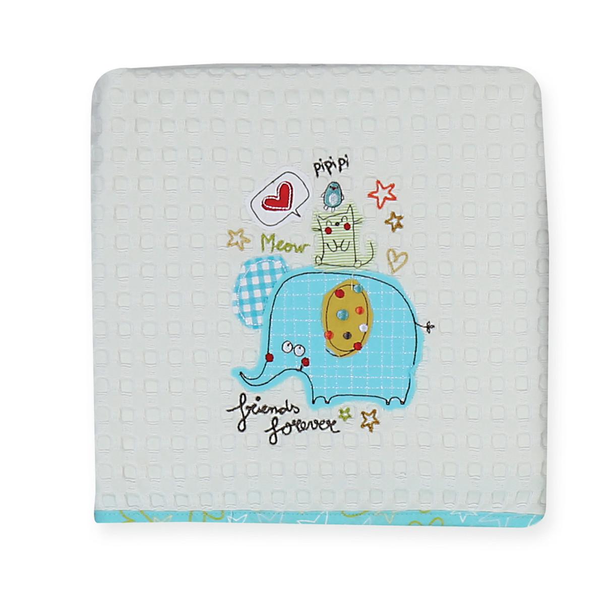 Κουβέρτα Πικέ Αγκαλιάς Nef-Nef 3 Friends home   βρεφικά   κουβέρτες βρεφικές   κουβέρτες καλοκαιρινές