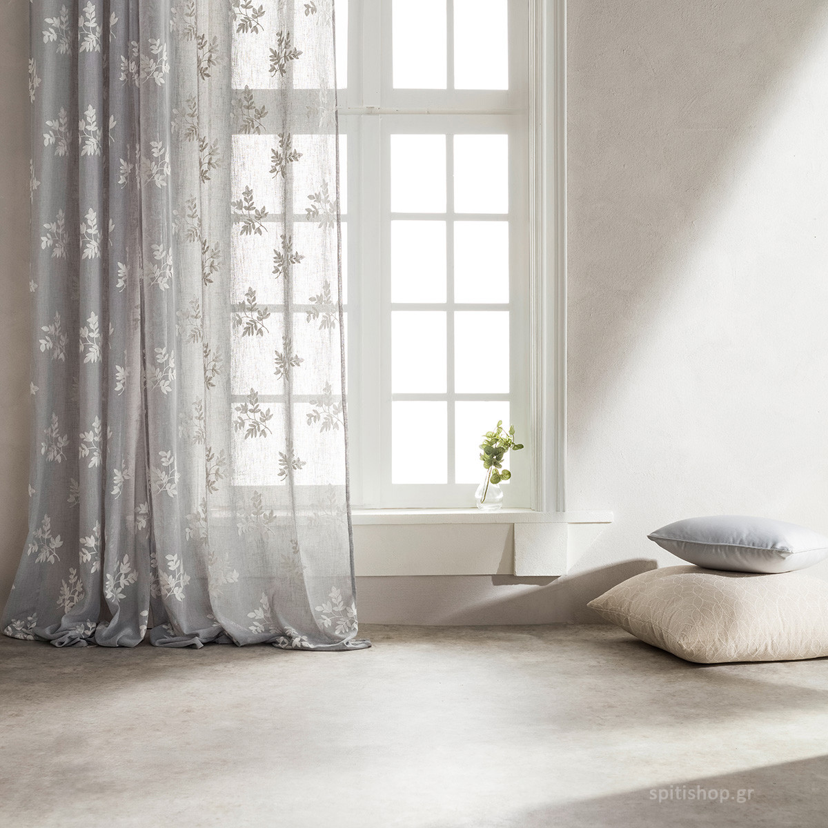 Κουρτίνα (140×260) Με Τρουκς Gofis Home Leaf Grey 532/15