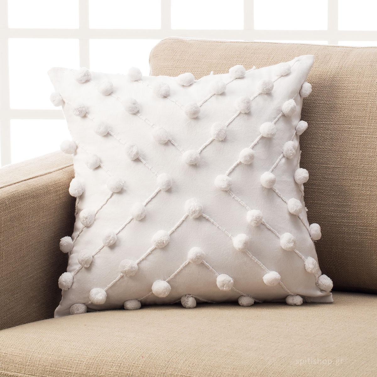 Διακοσμητική Μαξιλαροθήκη (43×43) Gofis Home Arty White 187/16