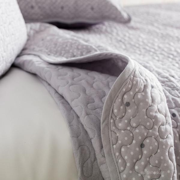 Κουβερλί Υπέρδιπλο (Σετ) Gofis Home Pindot Grey 526/14