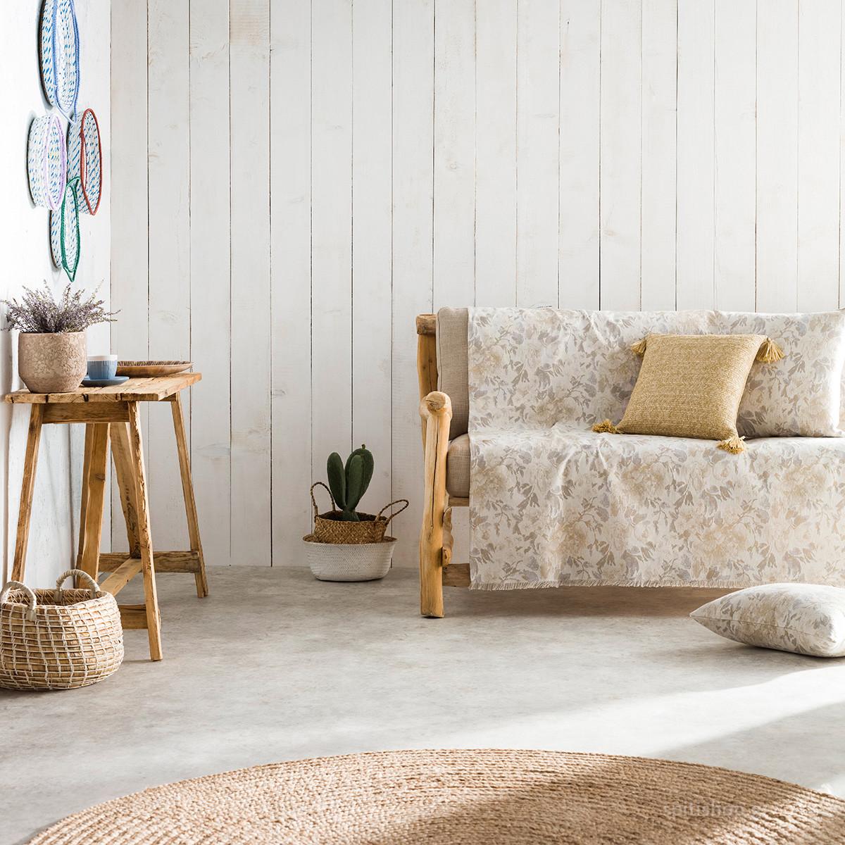 Ριχτάρι Πολυθρόνας (180×180) Gofis Home Bloomy Grey 628/15
