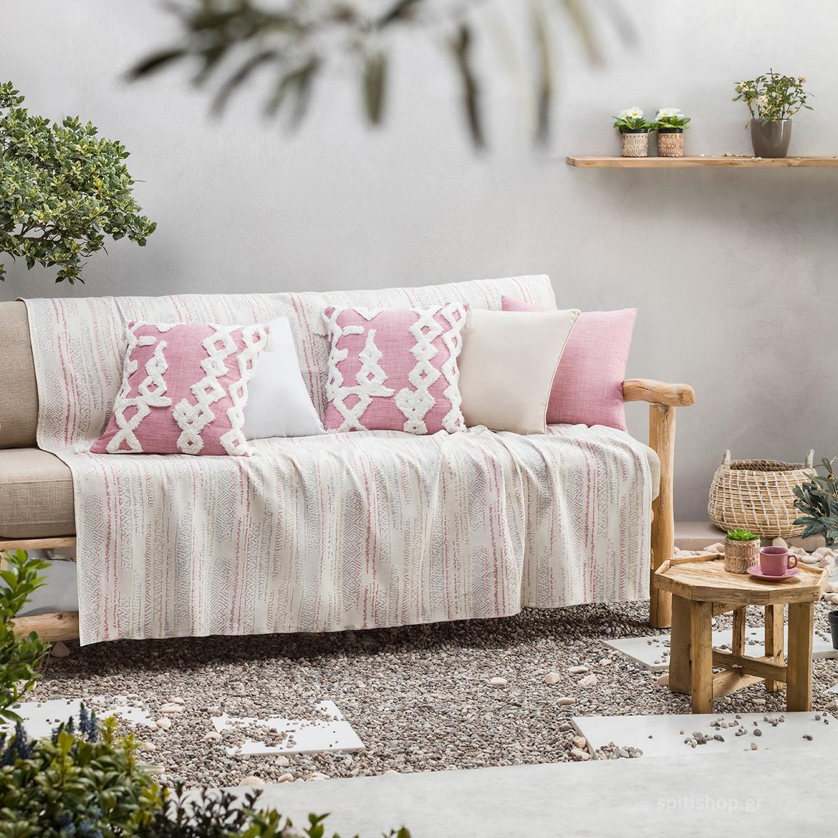 Ριχτάρι Πολυθρόνας (180×180) Gofis Home Flair PinkGrey 857/17