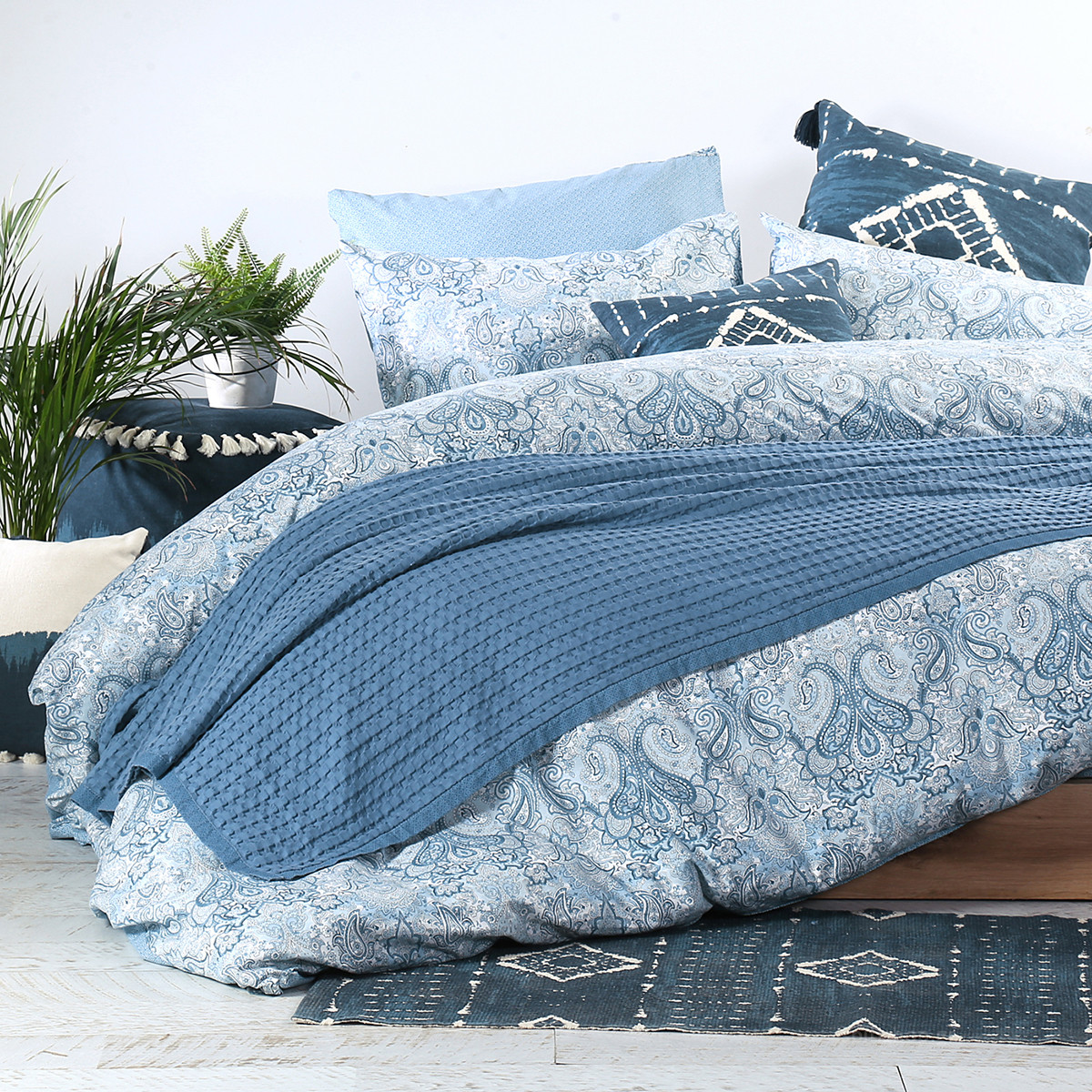 Κουβέρτα Πικέ Υπέρδιπλη Nef-Nef Blue Collection Margo Blue
