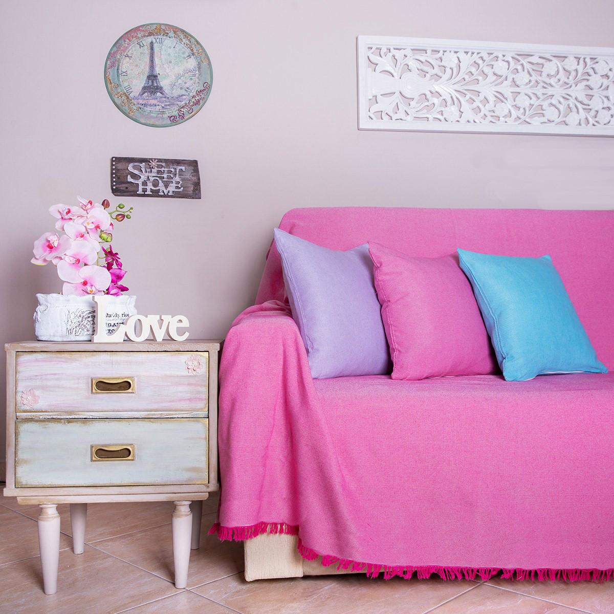 Διακοσμητική Μαξιλαροθήκη Loom To Room Ψάθα Φούξια