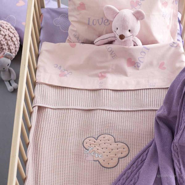 Κουβέρτα Πικέ Κούνιας Palamaiki Honey Lilac