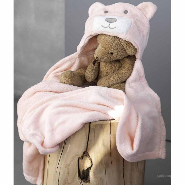 Κουβέρτα Fleece Με Κουκούλα Palamaiki Bear Pink