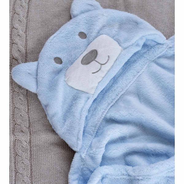 Κουβέρτα Fleece Με Κουκούλα Palamaiki Bear Ciel