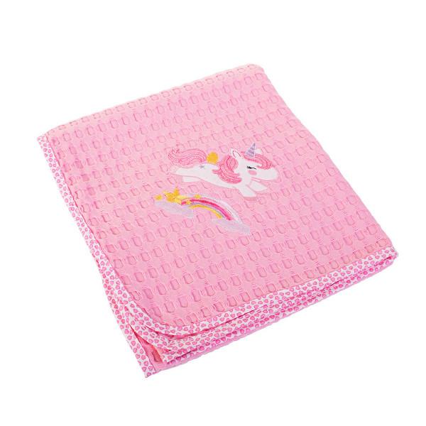 Κουβέρτα Πικέ Κούνιας Dimcol Unicorn 41 Ροζ