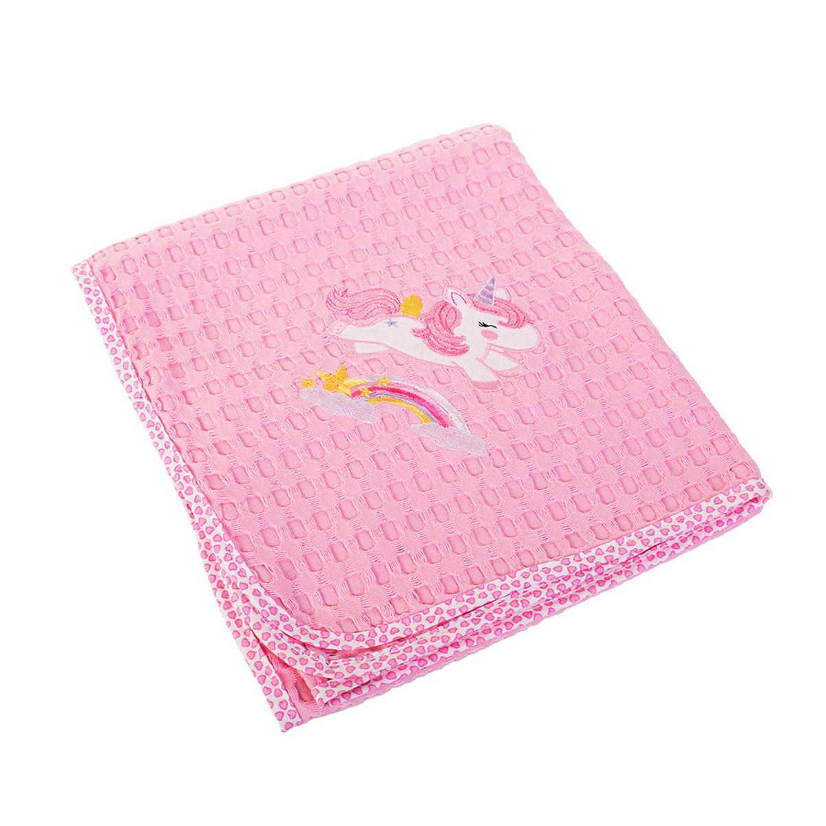 Κουβέρτα Πικέ Κούνιας Dim Collection Unicorn 41 Ροζ