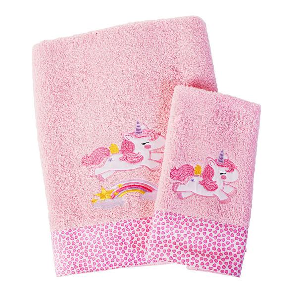 Βρεφικές Πετσέτες (Σετ 2τμχ) Dimcol Unicorn 41 Ροζ