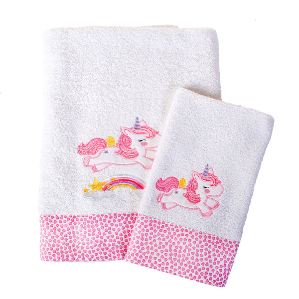 Βρεφικές Πετσέτες (Σετ 2τμχ) Dimcol Unicorn 42 Λευκό