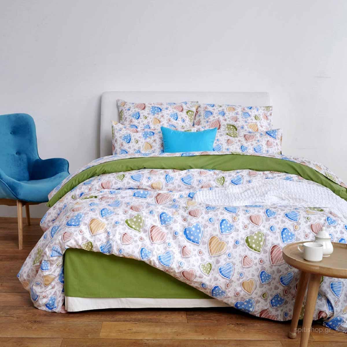 Κουβερλί Υπέρδιπλο Sb Home In Love Blue