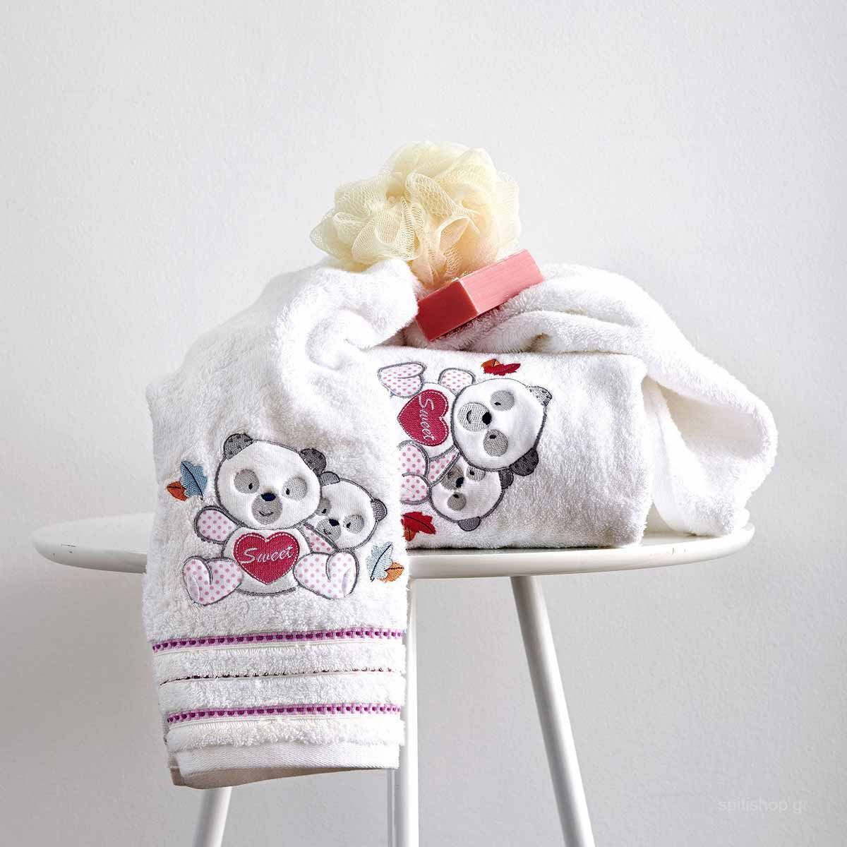 Βρεφικές Πετσέτες (Σετ 2τμχ) Sb Home Baby Panda Pink