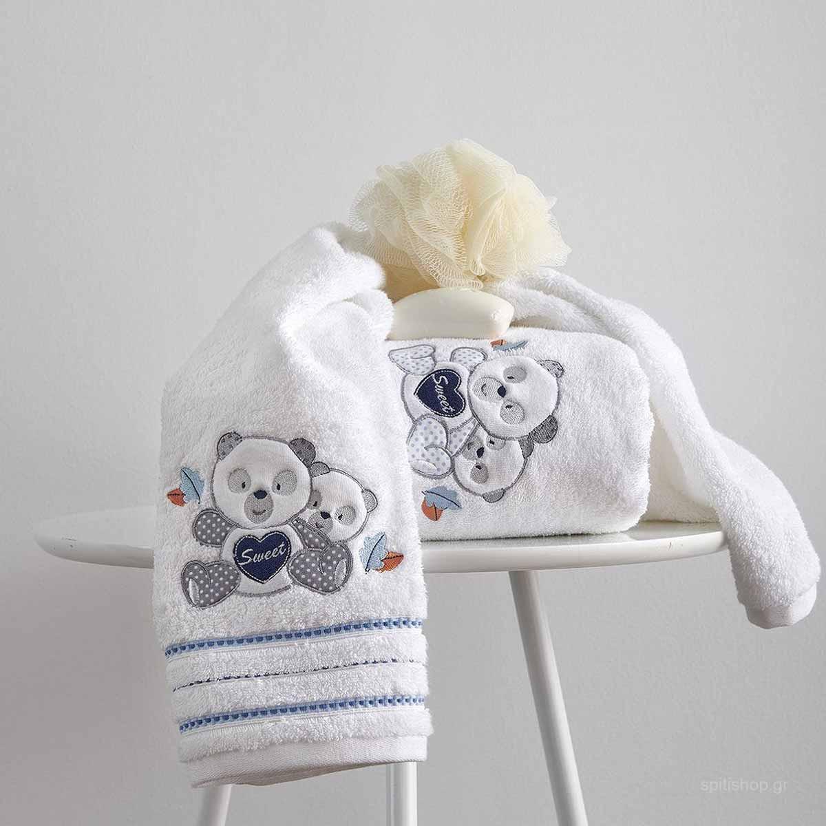Βρεφικές Πετσέτες (Σετ 2τμχ) Sb Home Baby Panda Blue