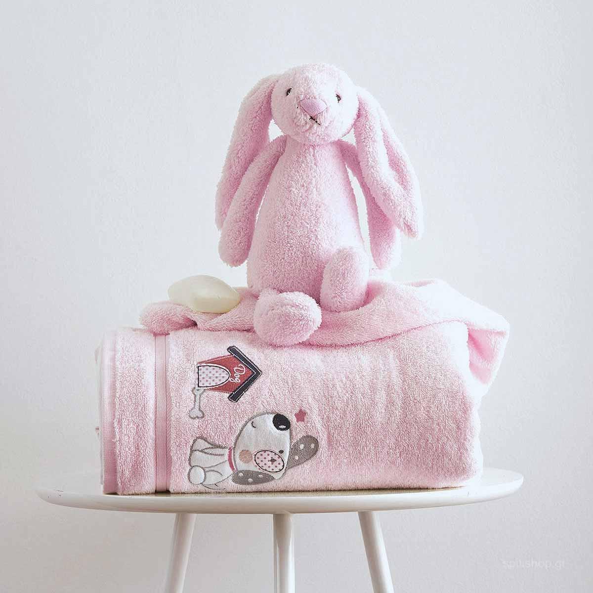 58f54fb3c16 ... Βρεφικές Πετσέτες (Σετ 2τμχ) Sb Home Baby Puppy Pink